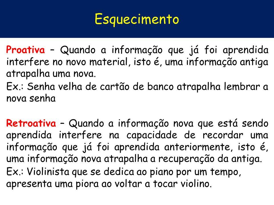 Esquecimento Proativa – Quando a informação que já foi aprendida interfere no novo material, isto é, uma informação antiga atrapalha uma nova. Ex.: Se