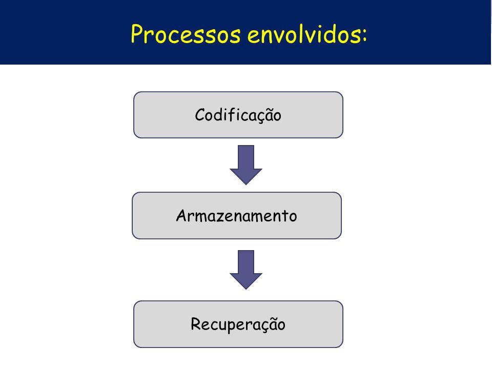 Processos envolvidos: Codificação Armazenamento Recuperação