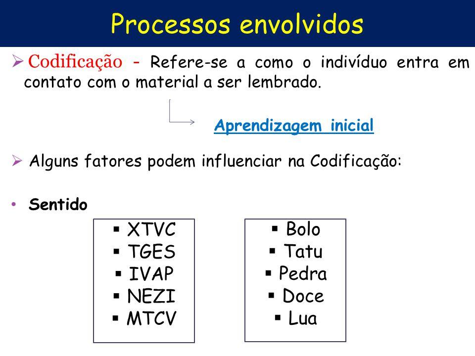 Processos envolvidos Codificação - Refere-se a como o indivíduo entra em contato com o material a ser lembrado. Aprendizagem inicial Alguns fatores po