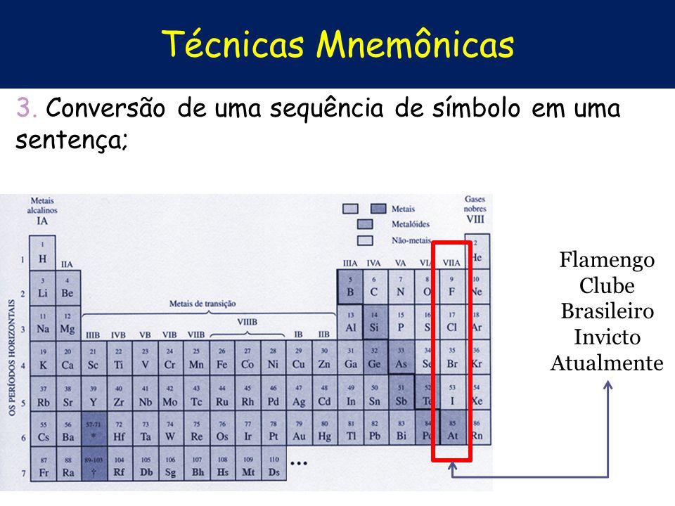 Técnicas Mnemônicas 3. Conversão de uma sequência de símbolo em uma sentença; Flamengo Clube Brasileiro Invicto Atualmente