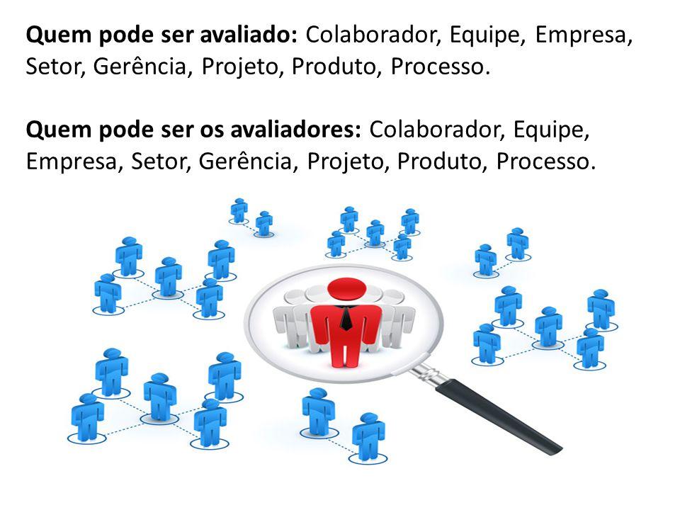Quem pode ser avaliado: Colaborador, Equipe, Empresa, Setor, Gerência, Projeto, Produto, Processo. Quem pode ser os avaliadores: Colaborador, Equipe,