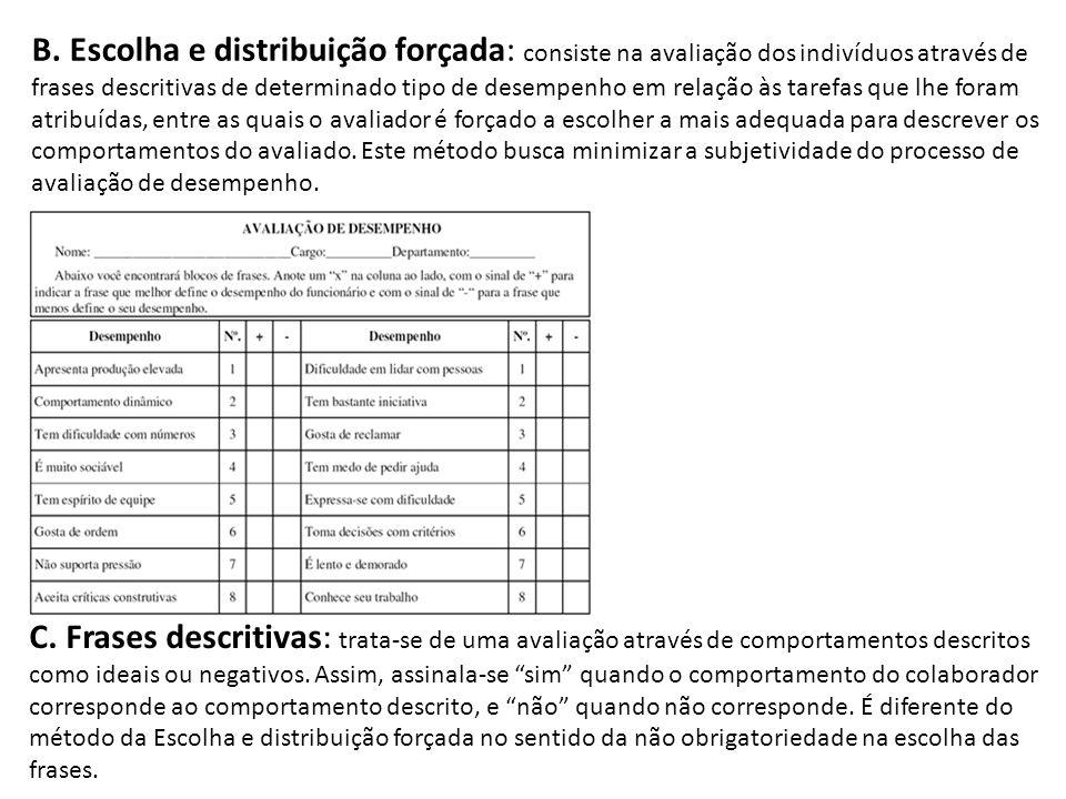 B. Escolha e distribuição forçada: consiste na avaliação dos indivíduos através de frases descritivas de determinado tipo de desempenho em relação às