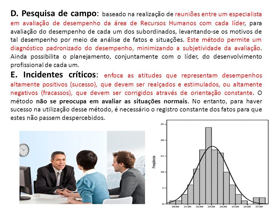 D. Pesquisa de campo: baseado na realização de reuniões entre um especialista em avaliação de desempenho da área de Recursos Humanos com cada líder, p