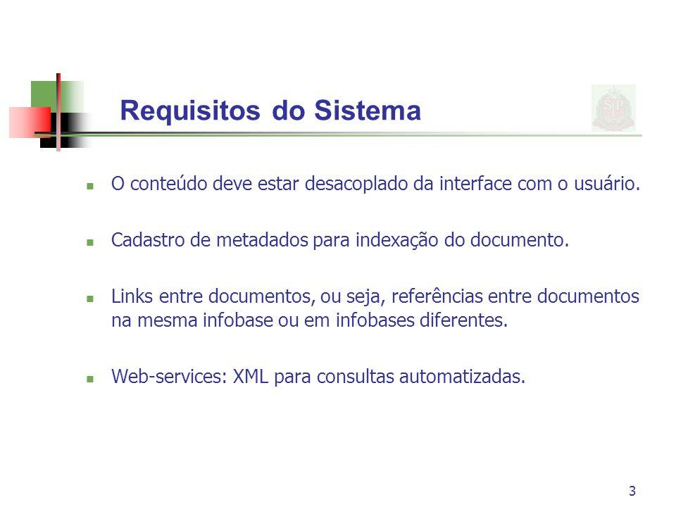 3 Requisitos do Sistema O conteúdo deve estar desacoplado da interface com o usuário. Cadastro de metadados para indexação do documento. Links entre d