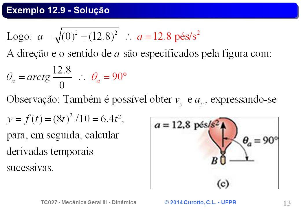 TC027 - Mecânica Geral III - Dinâmica © 2014 Curotto, C.L. - UFPR 13 Exemplo 12.9 - Solução