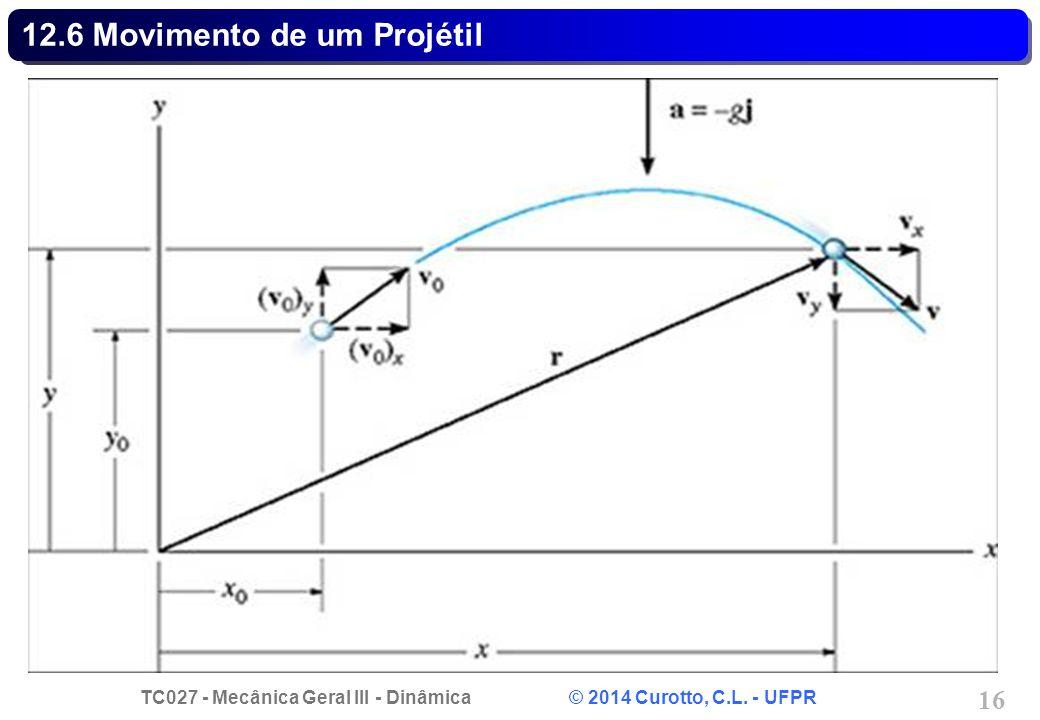 TC027 - Mecânica Geral III - Dinâmica © 2014 Curotto, C.L. - UFPR 16 12.6 Movimento de um Projétil