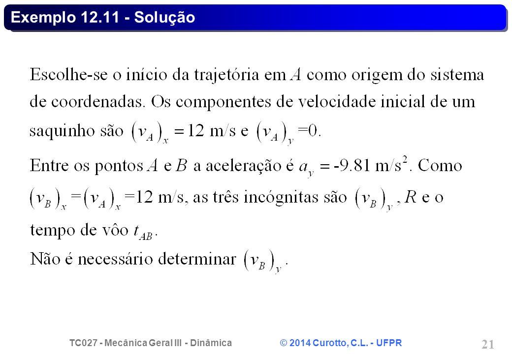 TC027 - Mecânica Geral III - Dinâmica © 2014 Curotto, C.L. - UFPR 21 Exemplo 12.11 - Solução