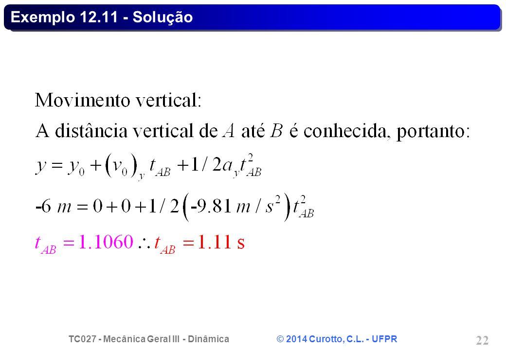 TC027 - Mecânica Geral III - Dinâmica © 2014 Curotto, C.L. - UFPR 22 Exemplo 12.11 - Solução