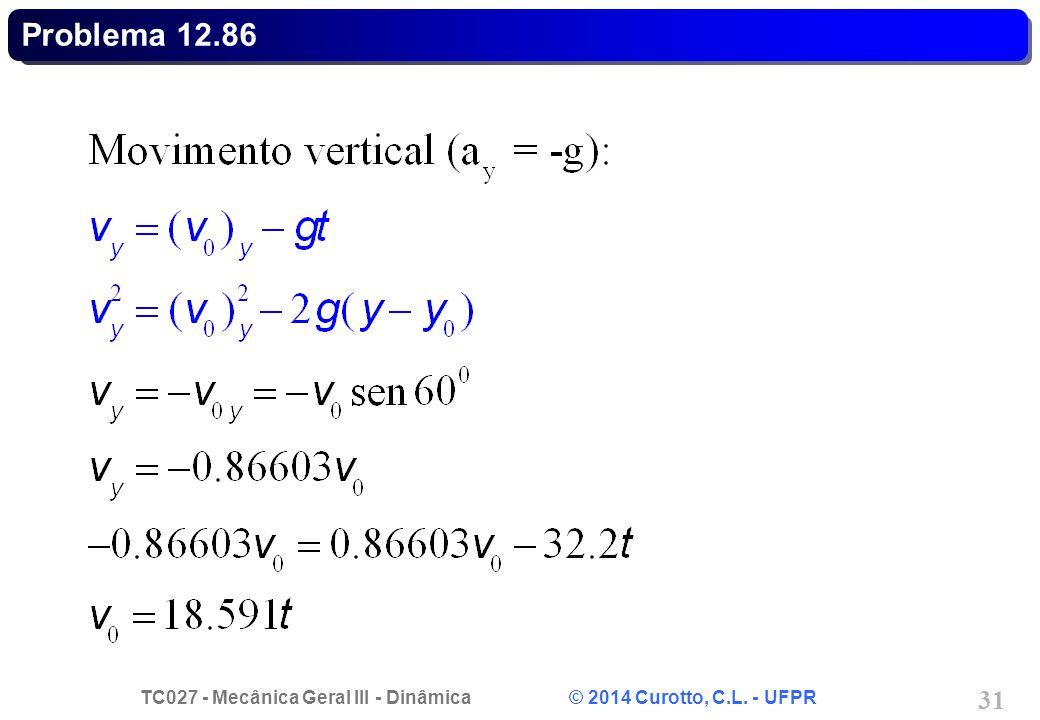 TC027 - Mecânica Geral III - Dinâmica © 2014 Curotto, C.L. - UFPR 31 Problema 12.86