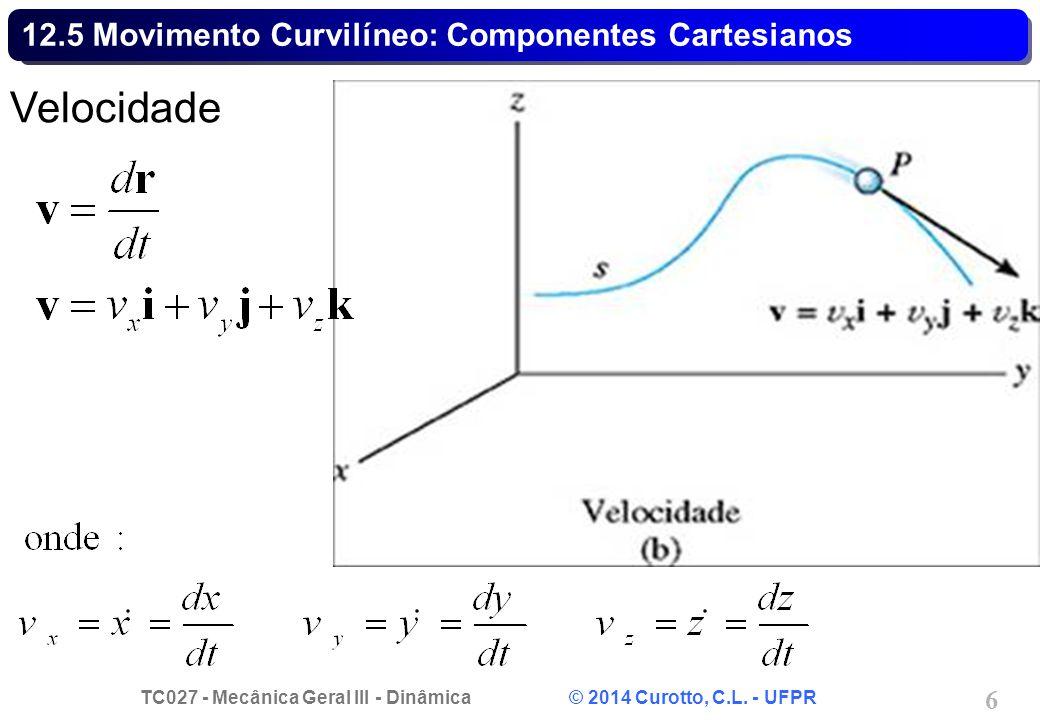 TC027 - Mecânica Geral III - Dinâmica © 2014 Curotto, C.L. - UFPR 27 Exemplo 12.15