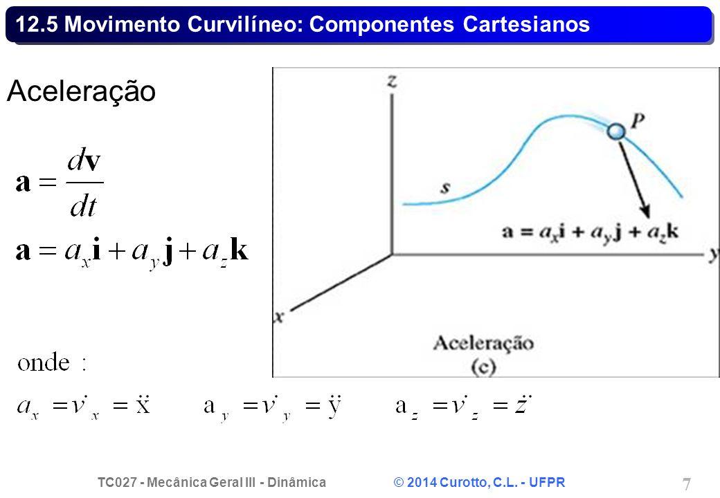 TC027 - Mecânica Geral III - Dinâmica © 2014 Curotto, C.L. - UFPR 18 12.6 Movimento de um Projétil