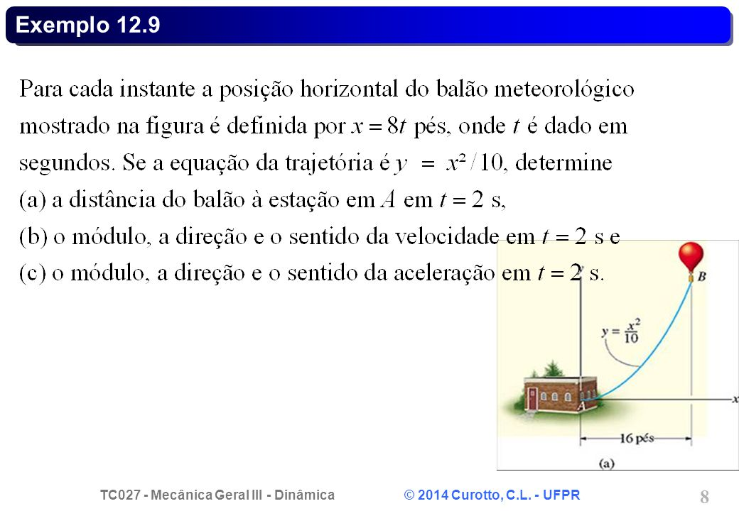 TC027 - Mecânica Geral III - Dinâmica © 2014 Curotto, C.L. - UFPR 9 Exemplo 12.9 - Solução