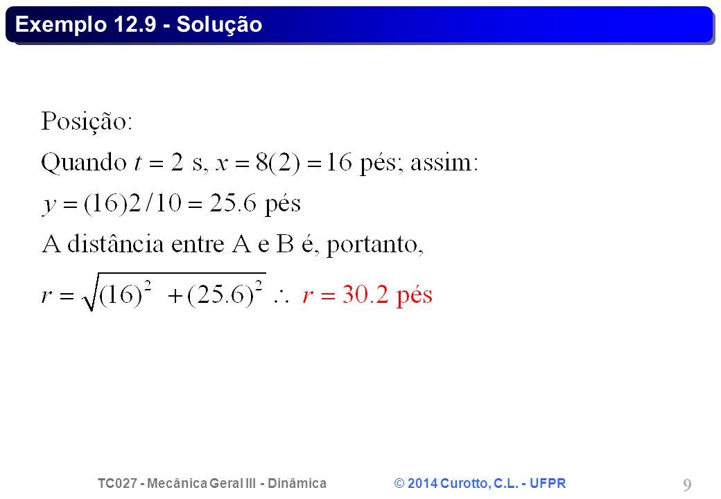 TC027 - Mecânica Geral III - Dinâmica © 2014 Curotto, C.L. - UFPR 10 Exemplo 12.9 - Solução