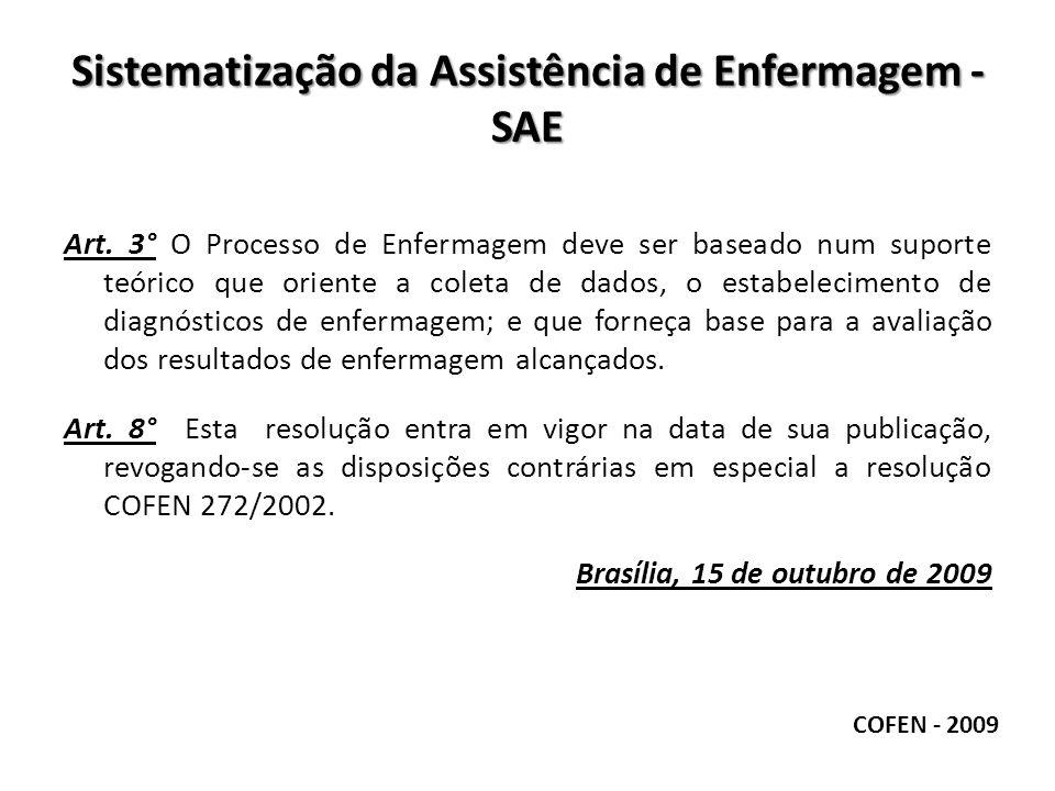 Sistematização da Assistência de Enfermagem - SAE Art. 3° O Processo de Enfermagem deve ser baseado num suporte teórico que oriente a coleta de dados,