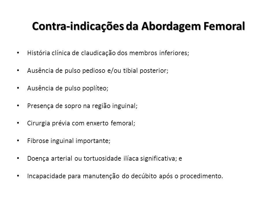 Contra-indicações da Abordagem Femoral História clínica de claudicação dos membros inferiores; Ausência de pulso pedioso e/ou tibial posterior; Ausênc