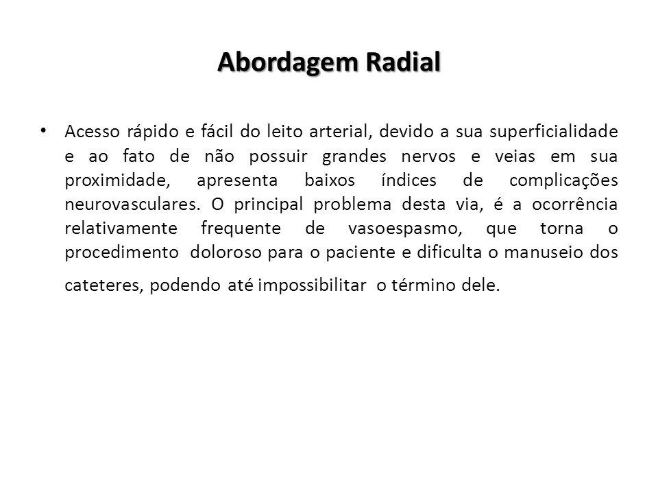 Abordagem Radial Acesso rápido e fácil do leito arterial, devido a sua superficialidade e ao fato de não possuir grandes nervos e veias em sua proximi