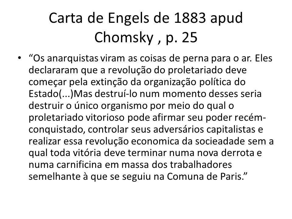 Carta de Engels de 1883 apud Chomsky, p. 25 Os anarquistas viram as coisas de perna para o ar. Eles declararam que a revolução do proletariado deve co