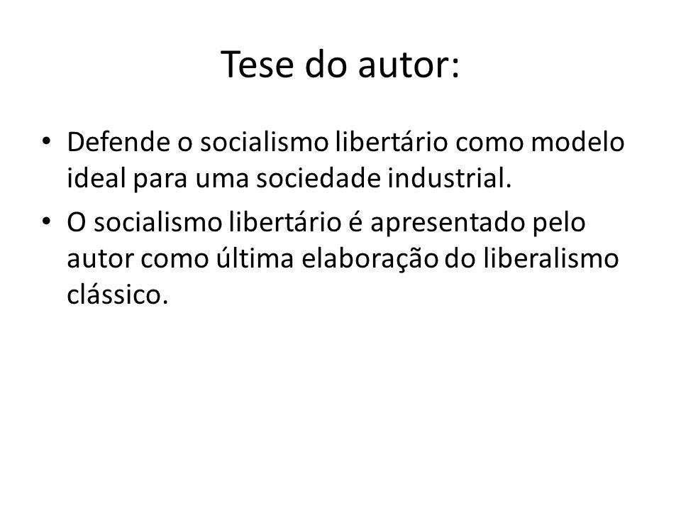 Tese do autor: Defende o socialismo libertário como modelo ideal para uma sociedade industrial. O socialismo libertário é apresentado pelo autor como