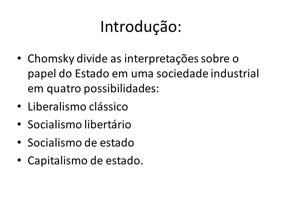 Introdução: Chomsky divide as interpretações sobre o papel do Estado em uma sociedade industrial em quatro possibilidades: Liberalismo clássico Social
