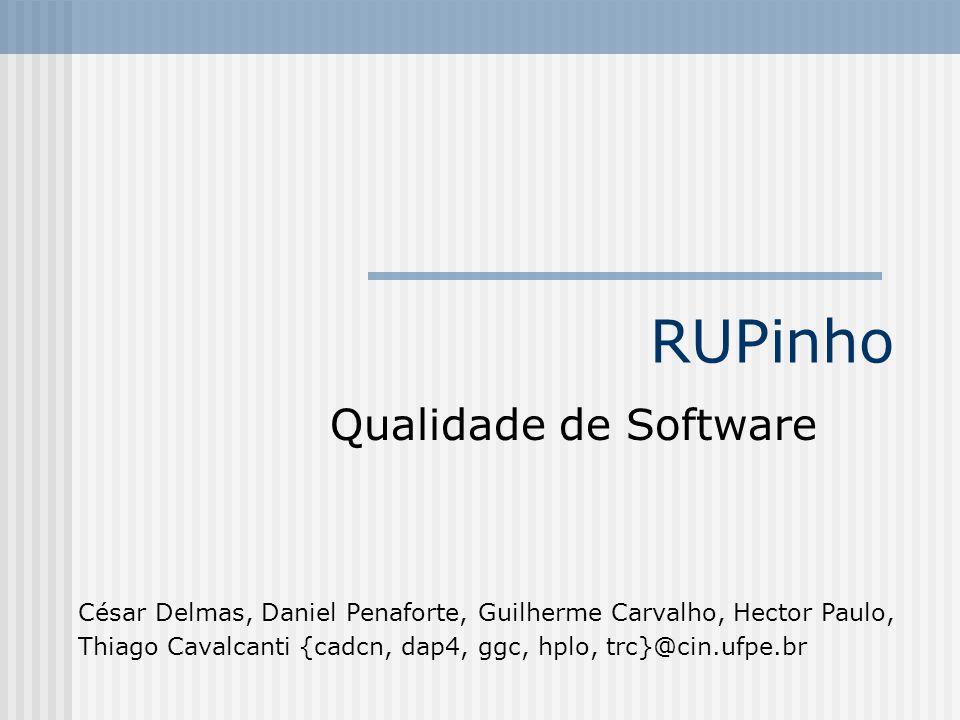 RUPinho Qualidade de Software César Delmas, Daniel Penaforte, Guilherme Carvalho, Hector Paulo, Thiago Cavalcanti {cadcn, dap4, ggc, hplo, trc}@cin.uf