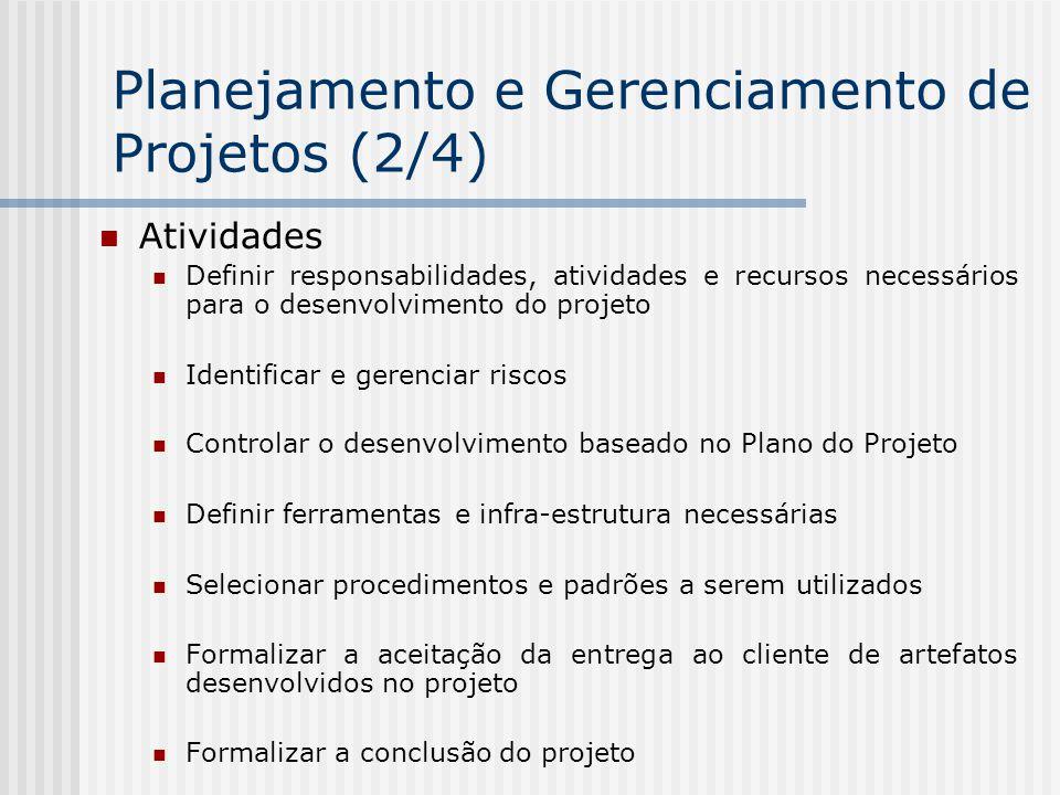 Atividades Definir responsabilidades, atividades e recursos necessários para o desenvolvimento do projeto Identificar e gerenciar riscos Controlar o d