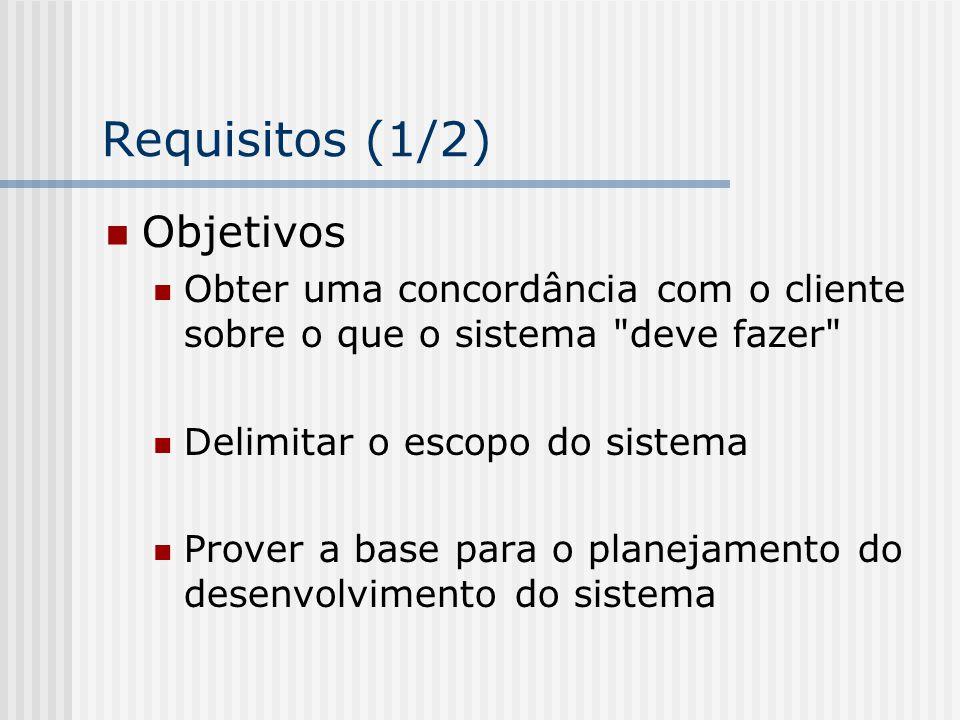Requisitos (1/2) Objetivos Obter uma concordância com o cliente sobre o que o sistema