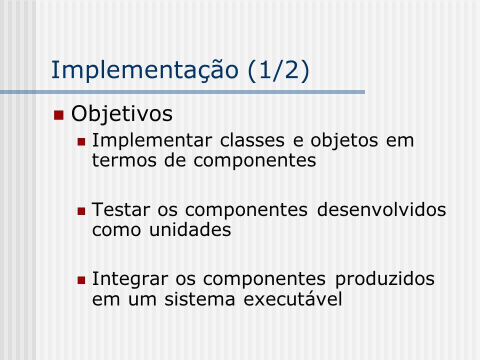 Implementação (1/2) Objetivos Implementar classes e objetos em termos de componentes Testar os componentes desenvolvidos como unidades Integrar os com