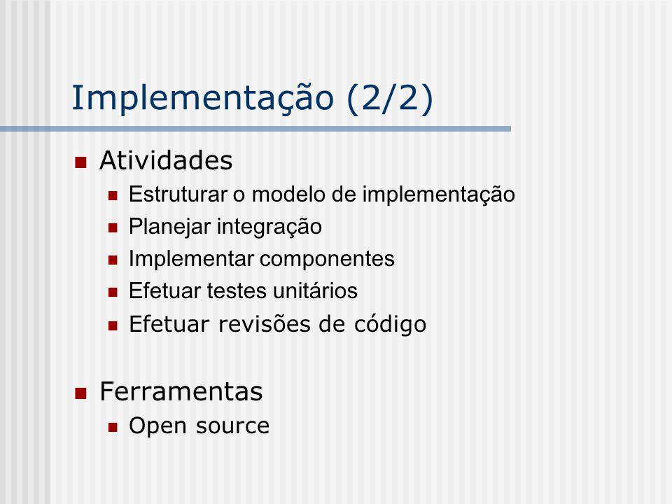 Implementação (2/2) Atividades Estruturar o modelo de implementação Planejar integração Implementar componentes Efetuar testes unitários Efetuar revis