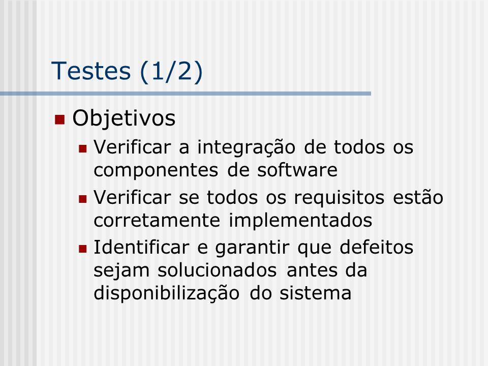 Testes (1/2) Objetivos Verificar a integração de todos os componentes de software Verificar se todos os requisitos estão corretamente implementados Id