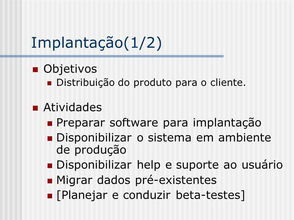 Implantação(1/2) Objetivos Distribuição do produto para o cliente. Atividades Preparar software para implantação Disponibilizar o sistema em ambiente