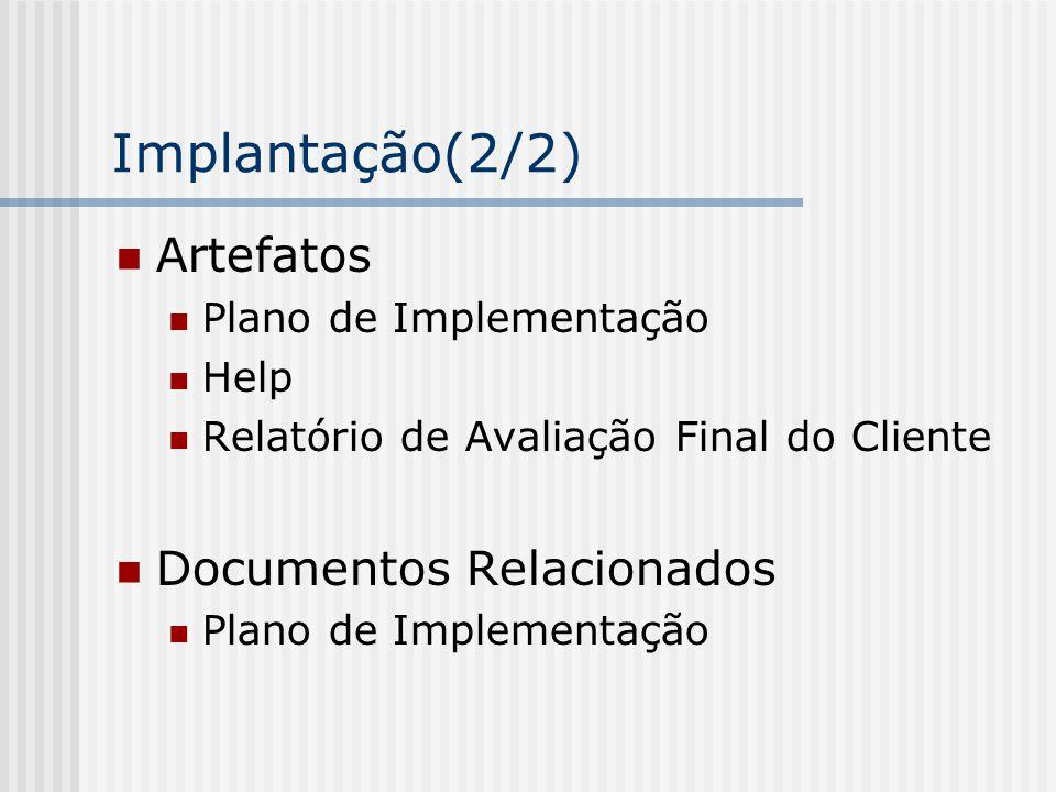 Implantação(2/2) Artefatos Plano de Implementação Help Relatório de Avaliação Final do Cliente Documentos Relacionados Plano de Implementação