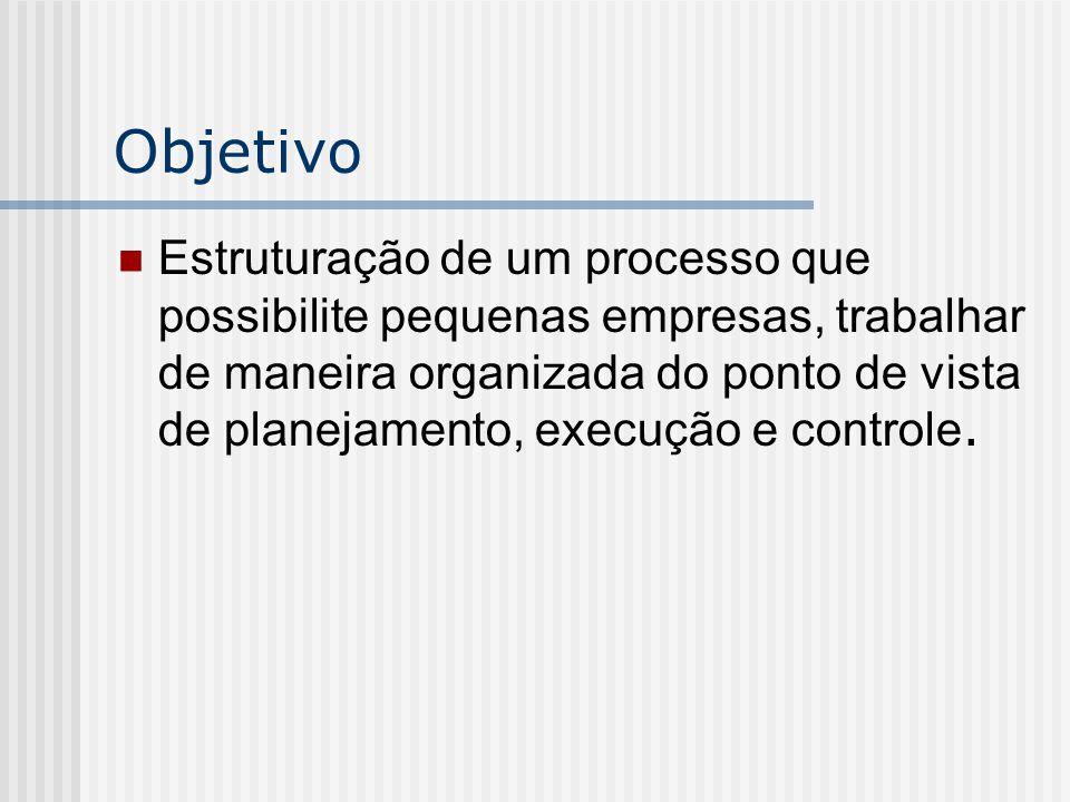 Objetivo Estruturação de um processo que possibilite pequenas empresas, trabalhar de maneira organizada do ponto de vista de planejamento, execução e