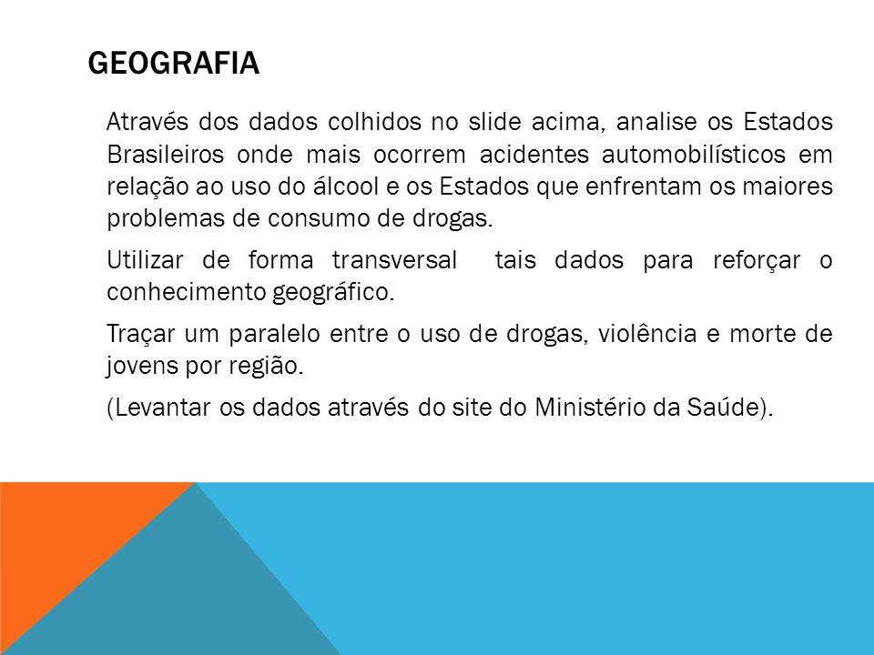 GEOGRAFIA Através dos dados colhidos no slide acima, analise os Estados Brasileiros onde mais ocorrem acidentes automobilísticos em relação ao uso do álcool e os Estados que enfrentam os maiores problemas de consumo de drogas.