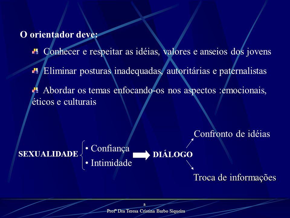 Profª Dra Teresa Cristina Barbo Siqueira É fundamental que o orientador tenha uma atitude positiva frente à própria sexualidade, que seja capaz de tra