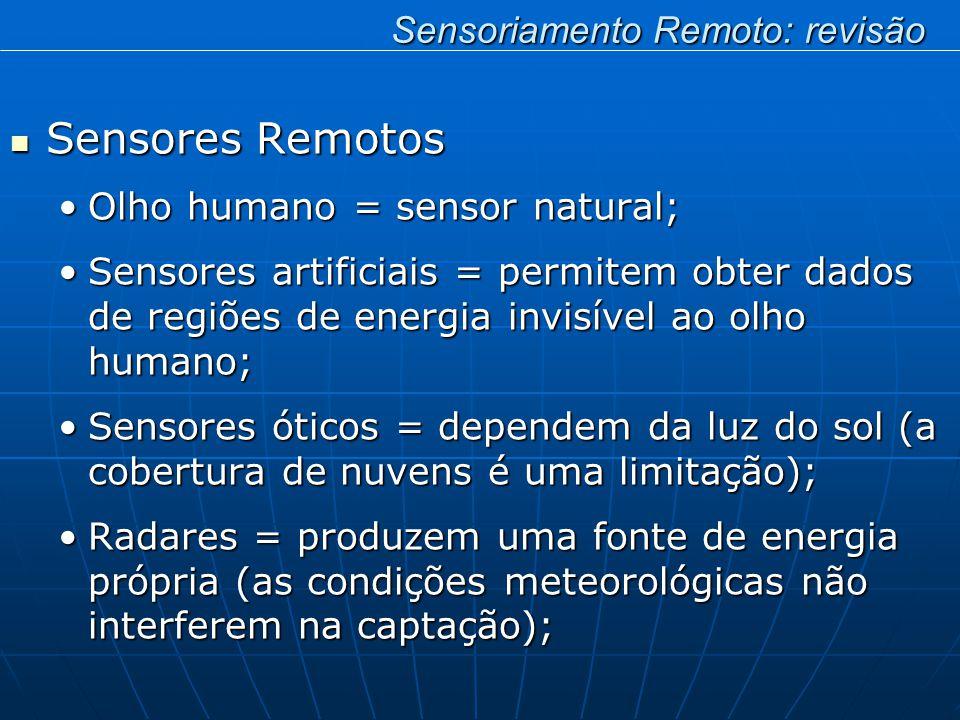 Sensores Remotos Sensores Remotos Olho humano = sensor natural;Olho humano = sensor natural; Sensores artificiais = permitem obter dados de regiões de energia invisível ao olho humano;Sensores artificiais = permitem obter dados de regiões de energia invisível ao olho humano; Sensores óticos = dependem da luz do sol (a cobertura de nuvens é uma limitação);Sensores óticos = dependem da luz do sol (a cobertura de nuvens é uma limitação); Radares = produzem uma fonte de energia própria (as condições meteorológicas não interferem na captação);Radares = produzem uma fonte de energia própria (as condições meteorológicas não interferem na captação); Sensoriamento Remoto: revisão