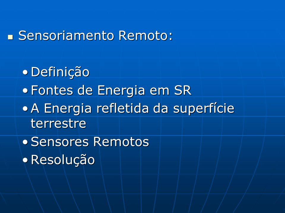 Sensoriamento Remoto: Sensoriamento Remoto: DefiniçãoDefinição Fontes de Energia em SRFontes de Energia em SR A Energia refletida da superfície terrestreA Energia refletida da superfície terrestre Sensores RemotosSensores Remotos ResoluçãoResolução