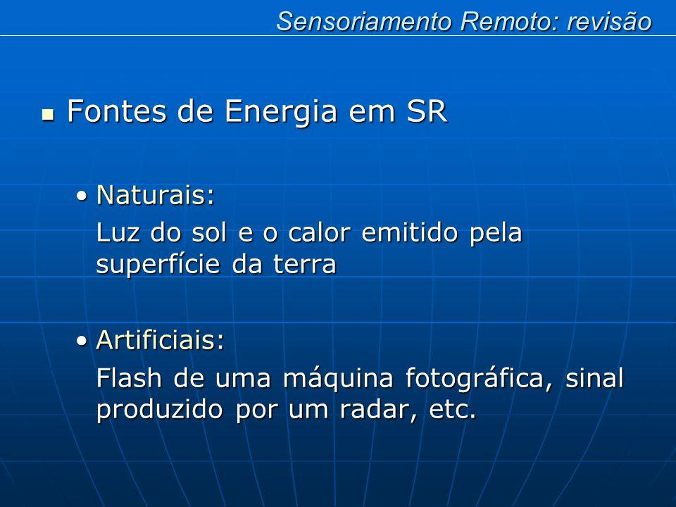 Fontes de Energia em SR Fontes de Energia em SR Naturais:Naturais: Luz do sol e o calor emitido pela superfície da terra Artificiais:Artificiais: Flash de uma máquina fotográfica, sinal produzido por um radar, etc.
