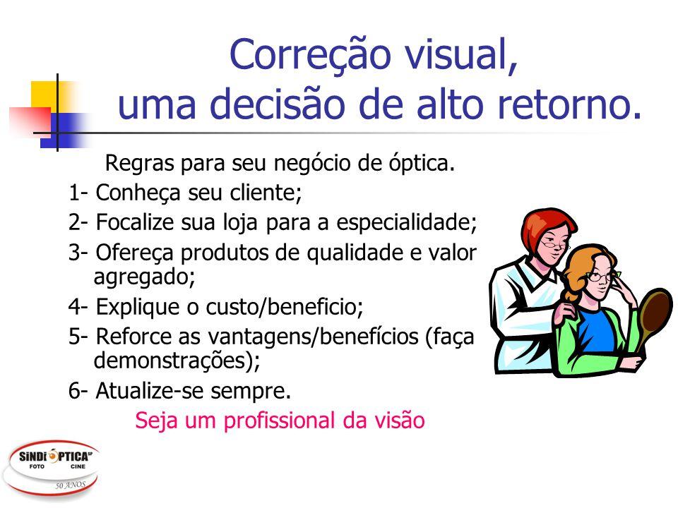 Correção visual, uma decisão de alto retorno. Regras para seu negócio de óptica. 1- Conheça seu cliente; 2- Focalize sua loja para a especialidade; 3-