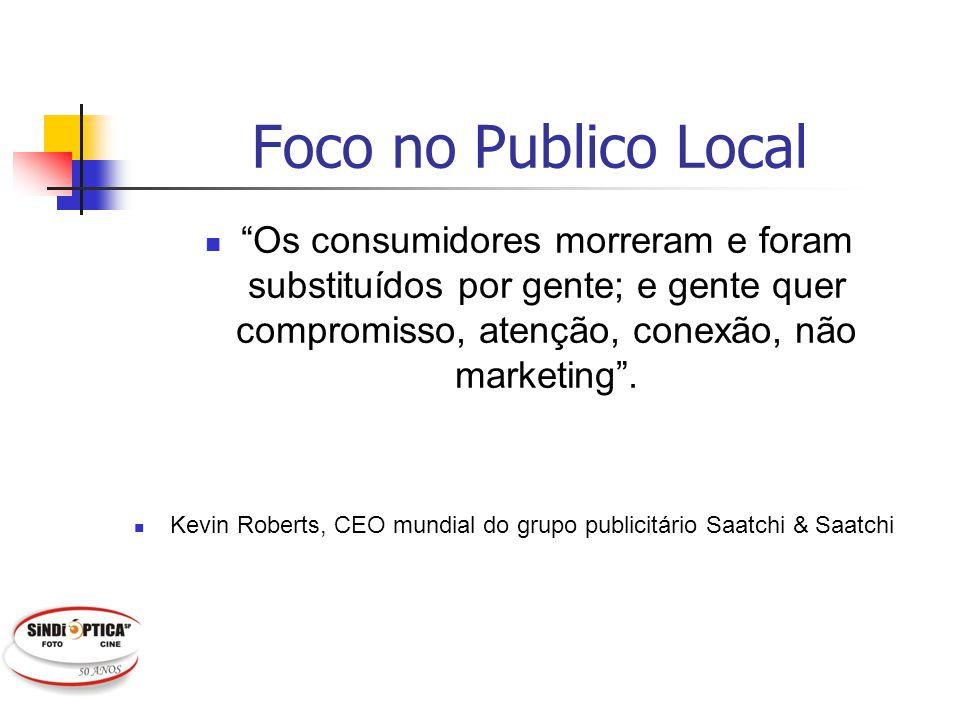 Foco no Publico Local Os consumidores morreram e foram substituídos por gente; e gente quer compromisso, atenção, conexão, não marketing. Kevin Robert