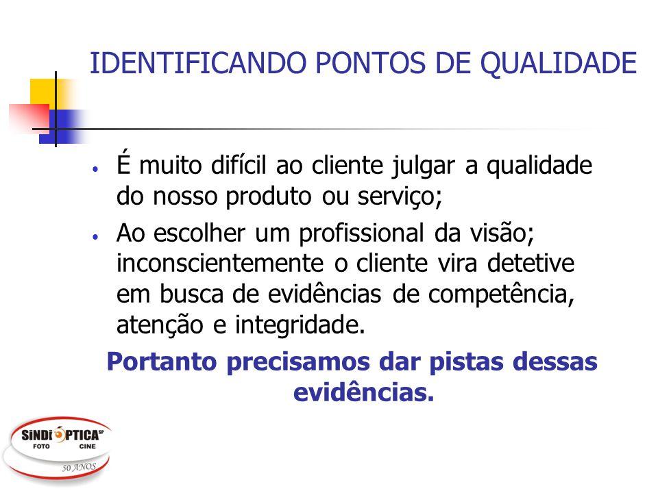 IDENTIFICANDO PONTOS DE QUALIDADE É muito difícil ao cliente julgar a qualidade do nosso produto ou serviço; Ao escolher um profissional da visão; inc