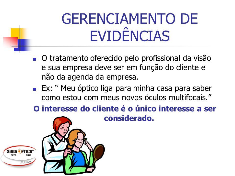GERENCIAMENTO DE EVIDÊNCIAS O tratamento oferecido pelo profissional da visão e sua empresa deve ser em função do cliente e não da agenda da empresa.