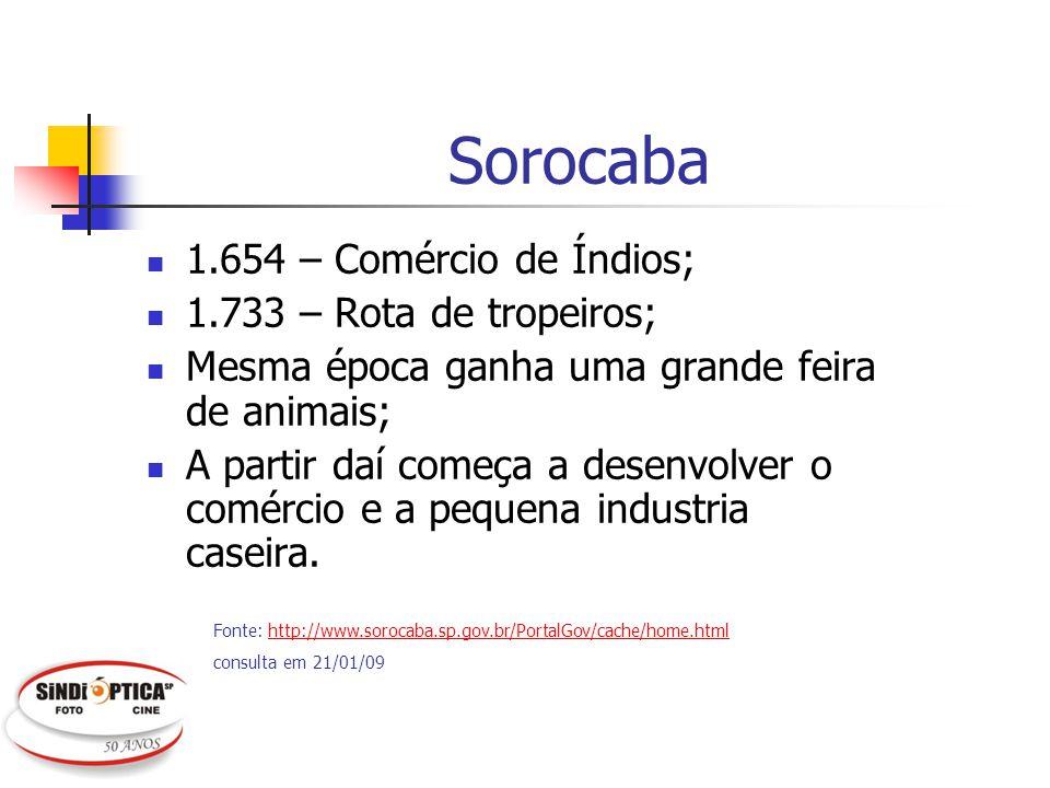 Mercado de Sorocaba Óculos e lentes: R$ 12.932.948 (0,440% de participação nacional); Pontos de venda: 54; 10.354 hab/óptica; Fat.