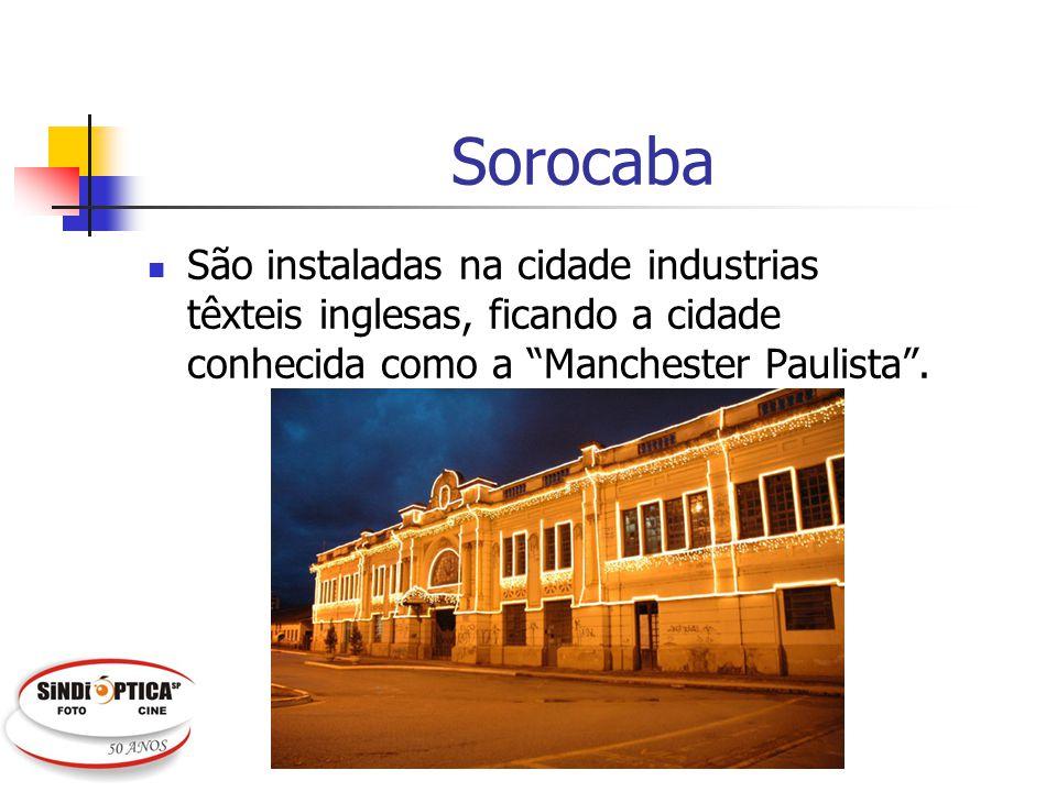 Sorocaba São instaladas na cidade industrias têxteis inglesas, ficando a cidade conhecida como a Manchester Paulista.
