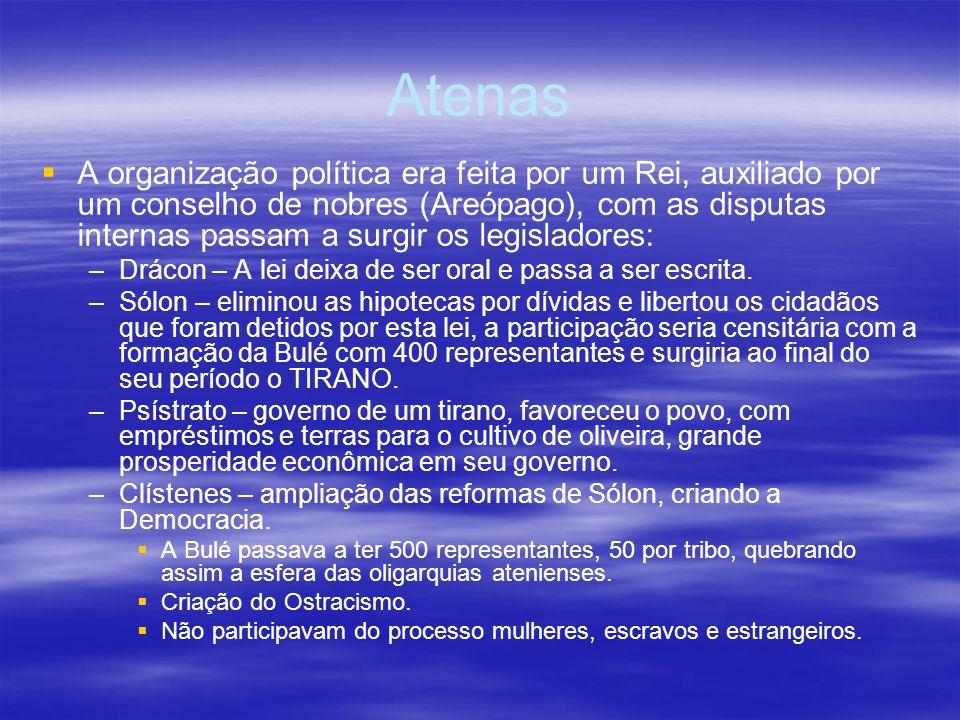 Atenas A organização política era feita por um Rei, auxiliado por um conselho de nobres (Areópago), com as disputas internas passam a surgir os legisl