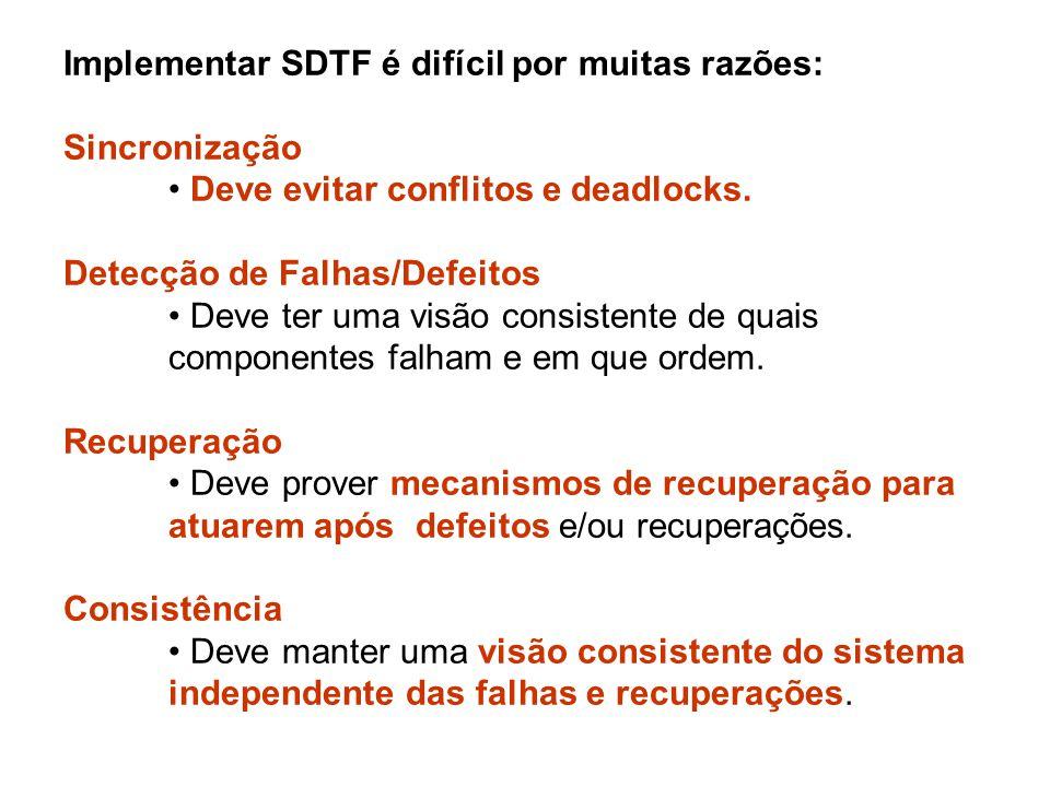 Implementar SDTF é difícil por muitas razões: Sincronização Deve evitar conflitos e deadlocks. Detecção de Falhas/Defeitos Deve ter uma visão consiste