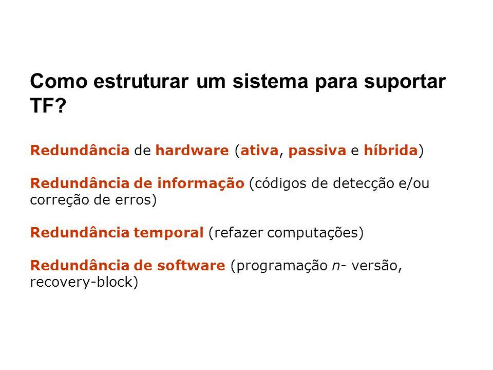 Como estruturar um sistema para suportar TF? Redundância de hardware (ativa, passiva e híbrida) Redundância de informação (códigos de detecção e/ou co