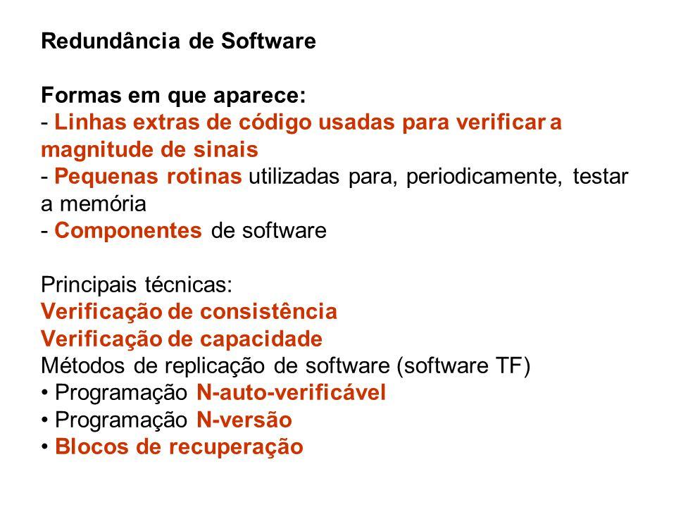 Redundância de Software Formas em que aparece: - Linhas extras de código usadas para verificar a magnitude de sinais - Pequenas rotinas utilizadas par