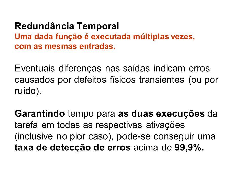 Redundância Temporal Uma dada função é executada múltiplas vezes, com as mesmas entradas. Eventuais diferenças nas saídas indicam erros causados por d