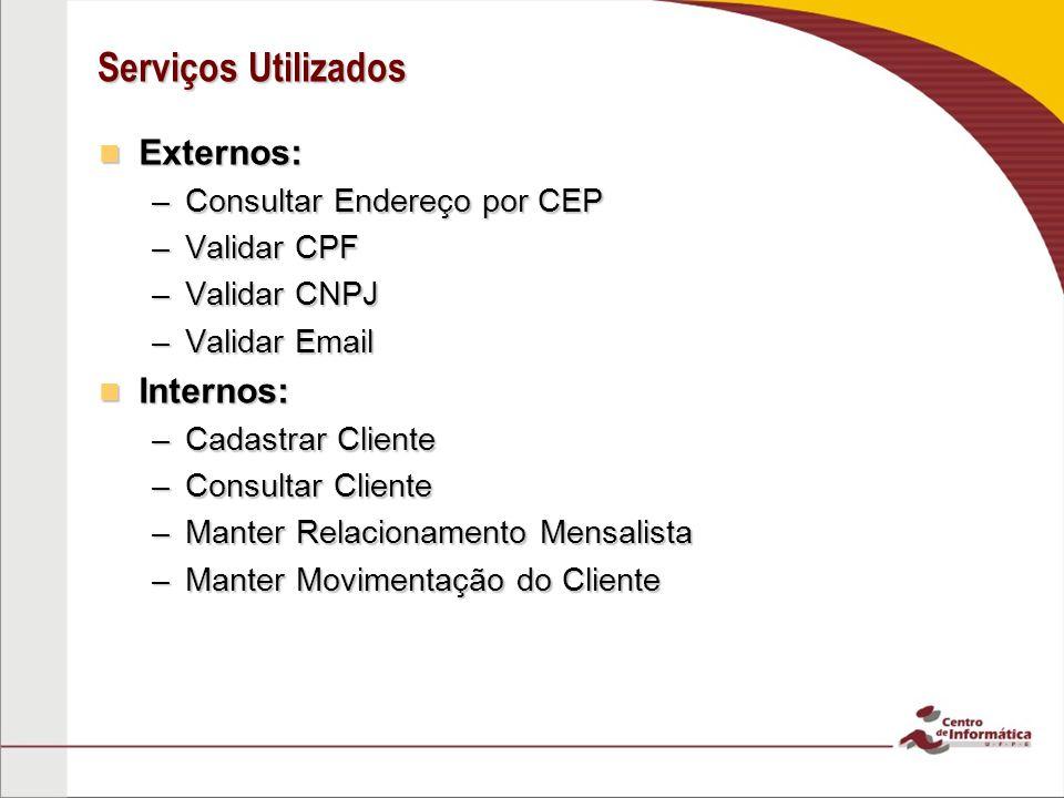 Serviços Utilizados Externos: Externos: –Consultar Endereço por CEP –Validar CPF –Validar CNPJ –Validar Email Internos: Internos: –Cadastrar Cliente –