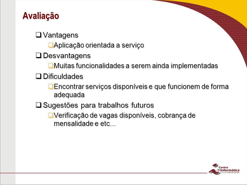 Avaliação Vantagens Vantagens Aplicação orientada a serviço Aplicação orientada a serviço Desvantagens Desvantagens Muitas funcionalidades a serem ain